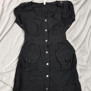 Anthropologie Maeve Black Button Down Cargo Dress